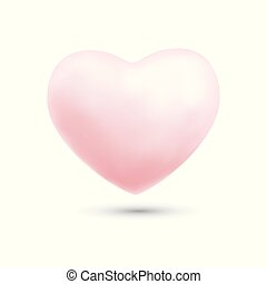 Happy valentines day with symbol 3d pink heart ballon isolated on white background.