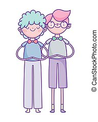 happy valentines day, young men with bowtie glasses cartoon characters