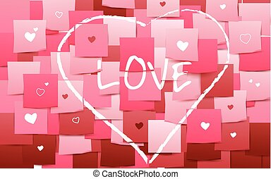 Happy valentines. Heart and love on Stick note paper art style