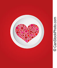 Happy Valentines Heart in Circle Illustration