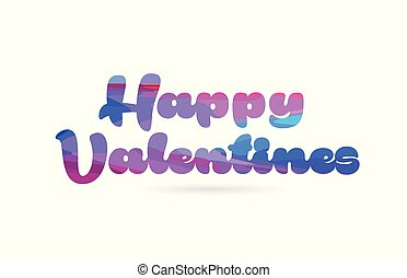 happy valentines pink blue color word text logo icon
