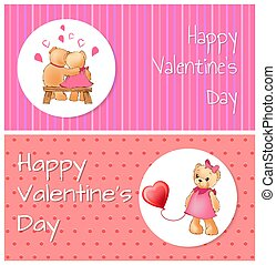 Happy Valentines Poster Bears Hug Teddy Balloon