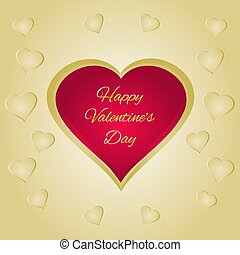Happy Valentines  red heart  gold  background vector.eps