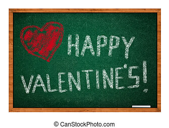 Happy valentines day with heart drawing on green chalkboard with wooden frame.