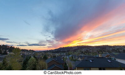 Happy Valley Oregon Suburban Homes at Colorful Sunset and...