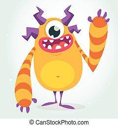 Happy vector orange monster