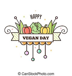 Happy Vegan Day. Vector illustration.