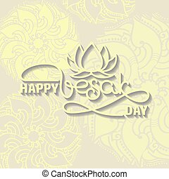 Happy Vesak Day card. Handwritten lettering with lotus.
