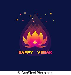 Happy Vesak Day card with lotus.