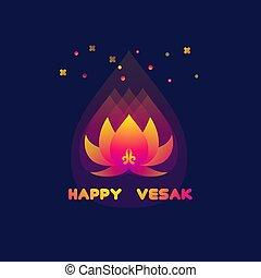 Happy Vesak Day card with lotus.