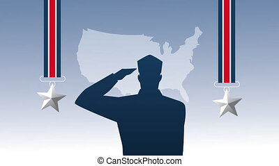 happy veterans day animation with soldiers saludating silhouette and medals ,4k video animated