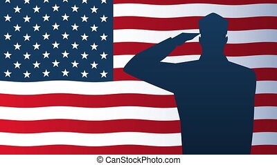 happy veterans day animation with soldiers saludating silhouette and usa flag