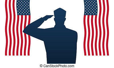 happy veterans day animation with soldiers saludating silhouette and usa flags