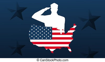 happy veterans day animation with soldiers saludating silhouette and usa map