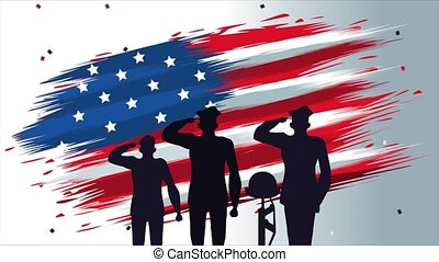 happy veterans day animation with soldiers silhouettes and usa flag