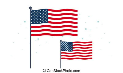 happy veterans day animation with usa flags