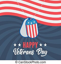 happy veterans day, army token on waving american flag, US military armed forces soldier