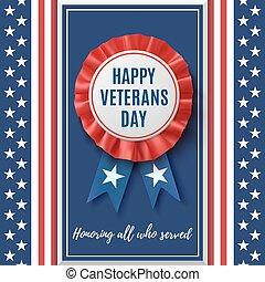 Happy veterans Day badge.