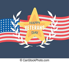 happy veterans day, gold star emblem national flag, US military armed forces soldier