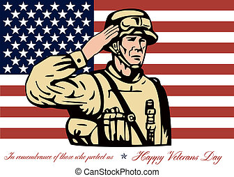 Happy Veterans Day Greeting Card Soldier Salute