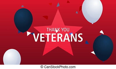 happy veterans day lettering animation with balloons helium ,4k video animated