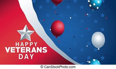 happy veterans day lettering animation with balloons helium floating ,4k video animated
