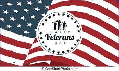 happy veterans day lettering animation with seal in flag background