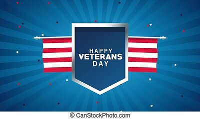 happy veterans day lettering animation with shield and flag...