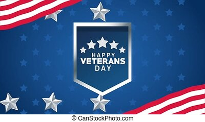 happy veterans day lettering animation with shield and stars...