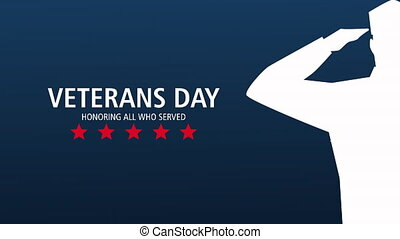 happy veterans day lettering animation with soldier saludating ,4k video animated