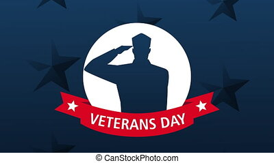 happy veterans day lettering animation with soldiers saludating silhouette ,4k video animated