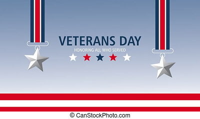 happy veterans day lettering animation with stars hanging ,4k video animated