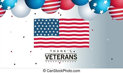 happy veterans day lettering animation with usa flag and balloons helium