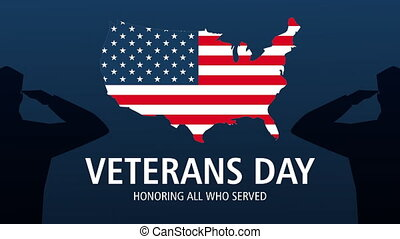happy veterans day lettering animation with usa flag in map