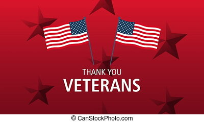 happy veterans day lettering animation with usa flags