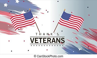 happy veterans day lettering animation with usa flags in poles crossed