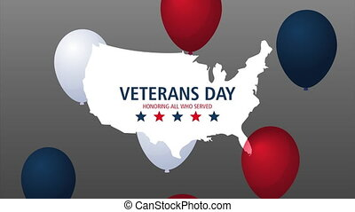 happy veterans day lettering animation with usa map and balloons helium