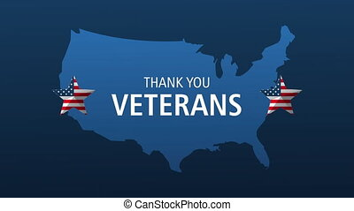 happy veterans day lettering animation with usa map and stars