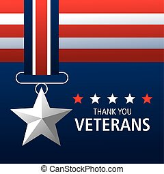 happy veterans day, thanks you card, medal star memorial