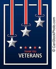 happy veterans day, thanks you card, medal stars patriotic symbol