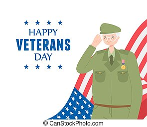 happy veterans day, US military armed forces soldier cartoon character and flag