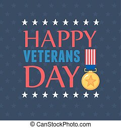 happy veterans day, US military armed forces soldier, inscription medal flag emblem