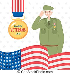 happy veterans day, US military armed forces soldier medal and american flag