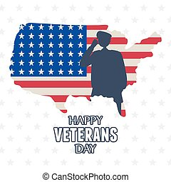 happy veterans day, US military armed forces soldier silhouette on american map with flag
