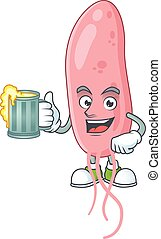 Happy vibrio cholerae mascot style toast with a glass of beer