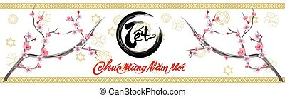 Happy vietnamese new year luna new year Vietnamese characters mean Happy New Year
