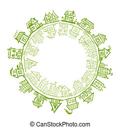 Happy village, frame with houses for your design