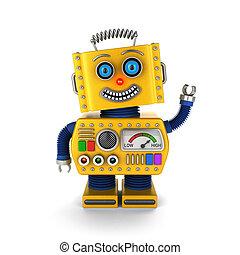 Happy vintage toy robot waving hello