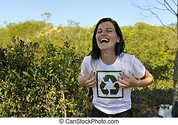 volunteer wearing a recycling t-shirt