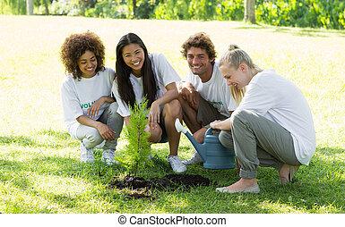 Happy volunteers planting in park